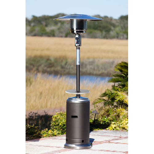 Fire Sense Mocha And Stainless Steel Commercial Patio Heater  With Adjustable Table