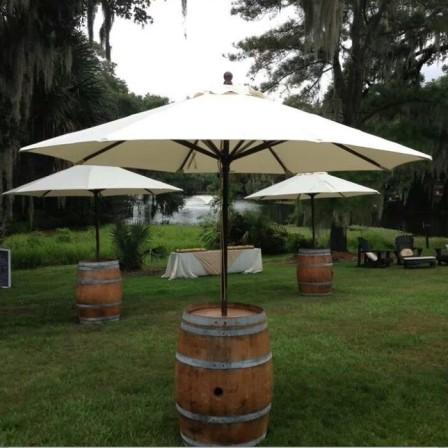 Wine Barrel with umbrella