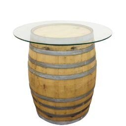 Wine barrel with glass top